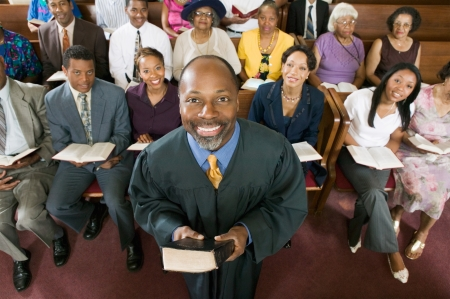 Preacher and Congregation portrait high angle view Stock Photo