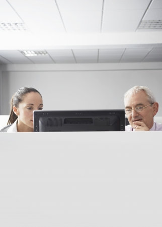 office cubicle: Two office workers looking at computer in office cubicle LANG_EVOIMAGES