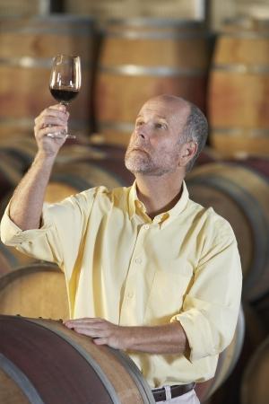 casks: Man wine-tasting aside wine casks