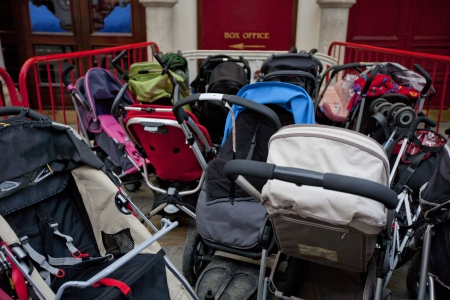 prams: Group of prams outside theatre