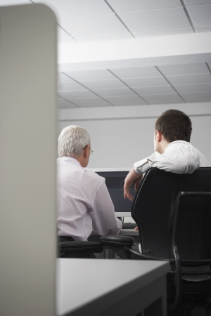 office cubicle: Two businessmen using computer in office cubicle back view