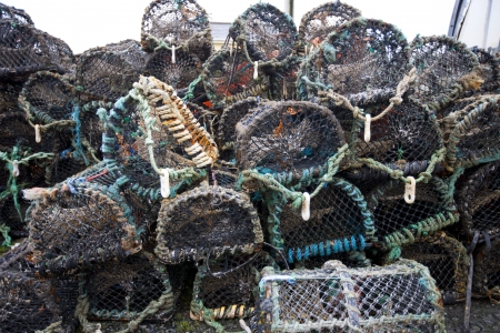 crab pots: Front view of lobster and crab fishing pots