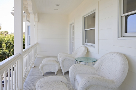 two chairs: Two chairs on empty deck