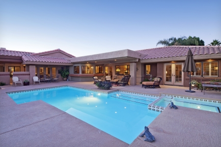 Rear view of luxury villa with swimming pool Stock Photo - 21010340