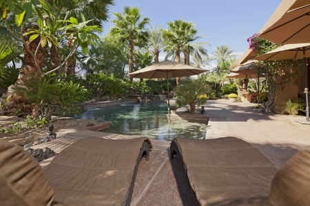 water feature: Luxury Villa with water feature and sun beds