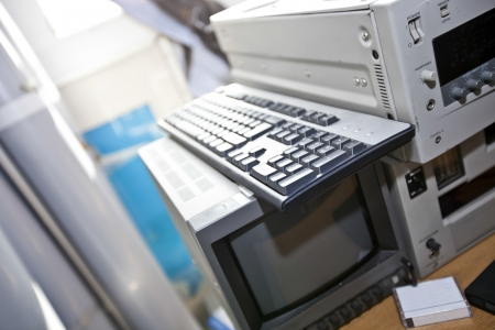 vcr: Monitor and VCR in television station