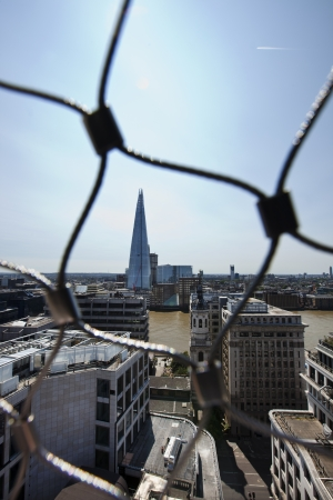 View of the Shard, London behind wire net Stock Photo - 23272162