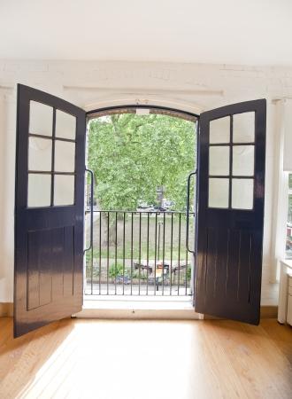 open office: View of garden through open office door