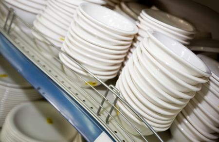 commercialism: Kitchenware on shelf in supermarket