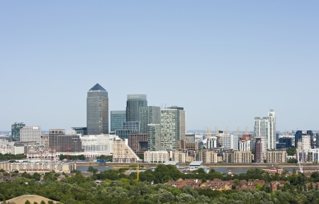canary wharf: Elevated view of Canary Wharf, London