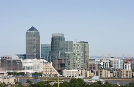 financial sector: Elevated view of Canary Wharf, London