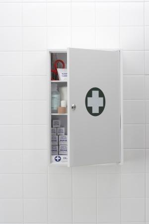 medical cabinet: Blood hand print on medical cabinet LANG_EVOIMAGES