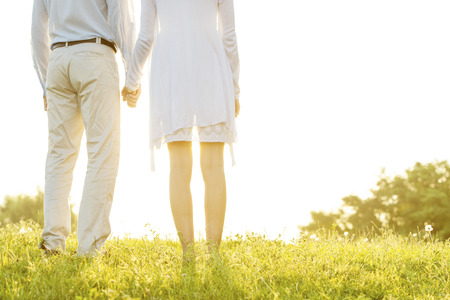 midsection: Midsection rear view of couple holding hands on grass against sky LANG_EVOIMAGES