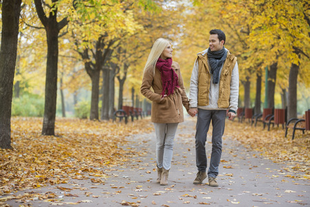 holding hands while walking: Couple holding hands while walking in park during autumn
