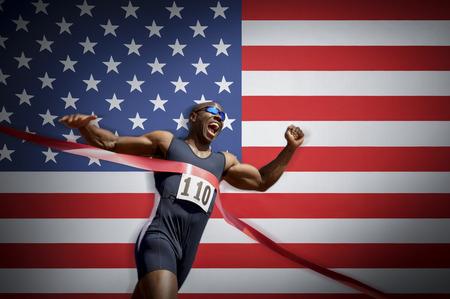 late 20s: Runner Breaking Finish Line Tape