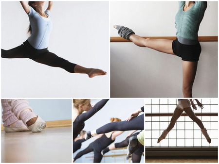 ballet bar: Collage of fit women practicing ballet dance LANG_EVOIMAGES