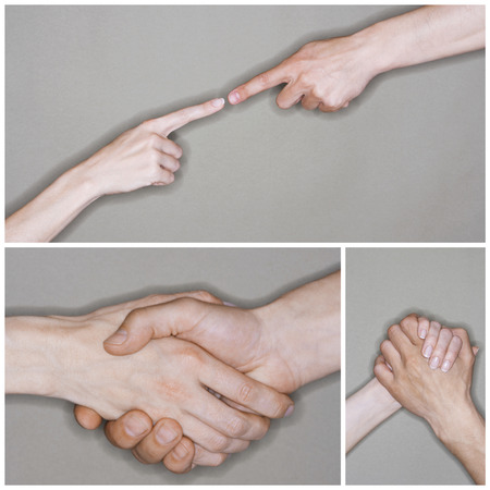 sexes: Collage of senior couples hands in different situation