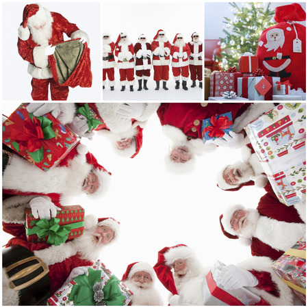 70s adult: Collage of Santa Clauses