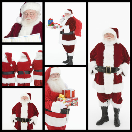 clause: Collage of men dressed at Santa Clause