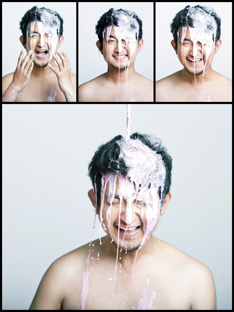 partially nude: Collage of pink paint falling on man