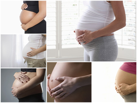 partially nude: Collage of pregnant women