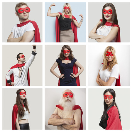 60s adult: Collage of confident people wearing superhero costumes LANG_EVOIMAGES