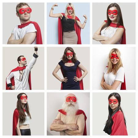 Collage of zuversichtlich, Menschen tragen Superhelden-Kostümen