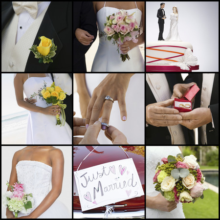 short phrase: Collage of brides and grooms