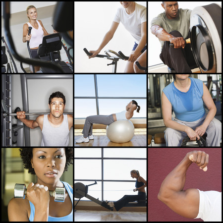 people exercising: Collage of people exercising in gym LANG_EVOIMAGES