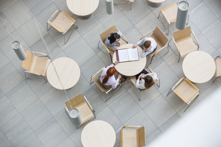 work office: High angle view of businesswomen doing paperwork in office canteen