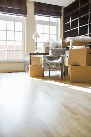 Cardboard boxes and furniture in new home