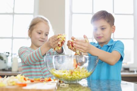 ni�a comiendo: Hermano y hermana que prepara la ensalada en la cocina