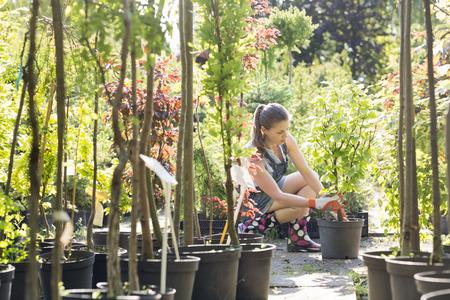 garden center: Woman planting pot at garden center LANG_EVOIMAGES