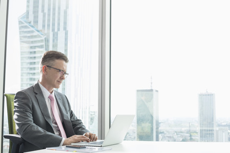 office attire: Mature businessman using laptop in office LANG_EVOIMAGES