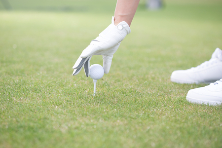 golf tee: Cropped image of woman placing ball on golf tee