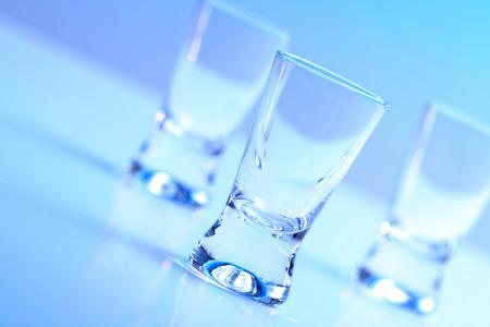 crystal glass: Studio shot of vodka glasses