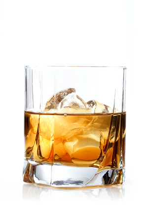 glass reflection: Glass of whisky - studio shot