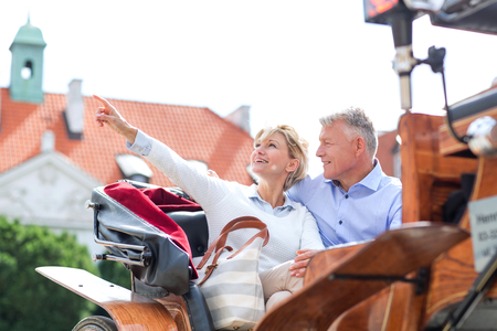 horse cart: Middle-aged woman showing something to man while sitting in horse cart