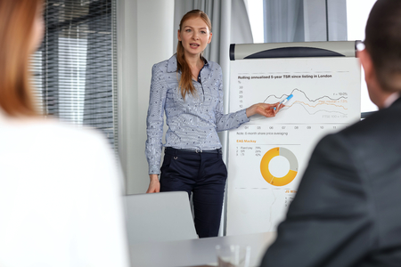 information medium: Young businesswoman giving presentation to colleagues in board room