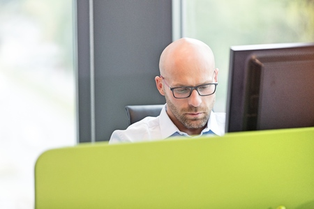 mid adult: Mid adult businessman using computer in office LANG_EVOIMAGES