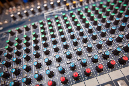 Close-up of sound mixing equipment in television station Stock Photo