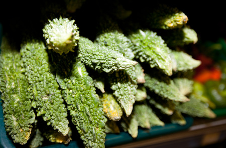 commercialism: Close-up of fresh goyas in supermarket