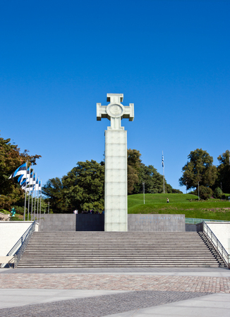 Freedom Monument and Freedom Square, Tallinn Stock Photo