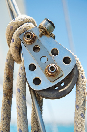 Close-up of boats block and tackle LANG_EVOIMAGES