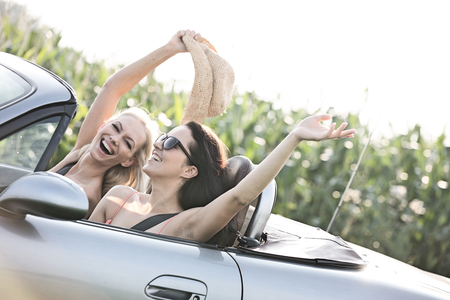transportation: Excited female friends enjoying road trip in convertible on sunny day