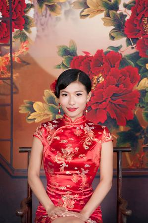 beautiful young Asian woman dress traditional Stock Photo