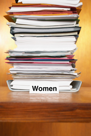 Overflowing Inbox for women Stock Photo