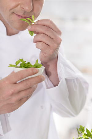Midsection of mature chef smelling herb leaves in kitchen at restaurant
