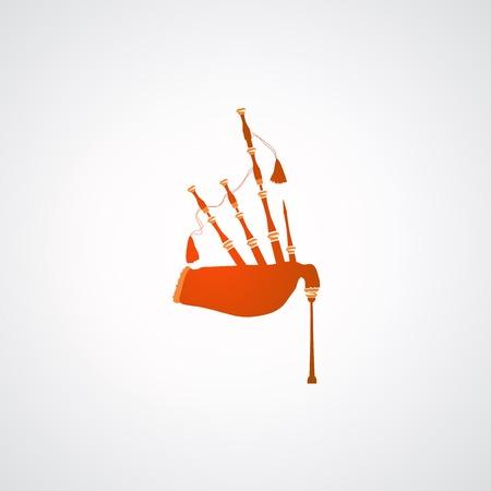 gaita: Icono de Scottish Highland Grandes gaitas en el fondo blanco, ilustraci�n vectorial.