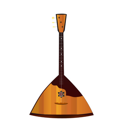 folk music: Balalaika, russian folk music instrument  isolated on white background, Vector Illustration